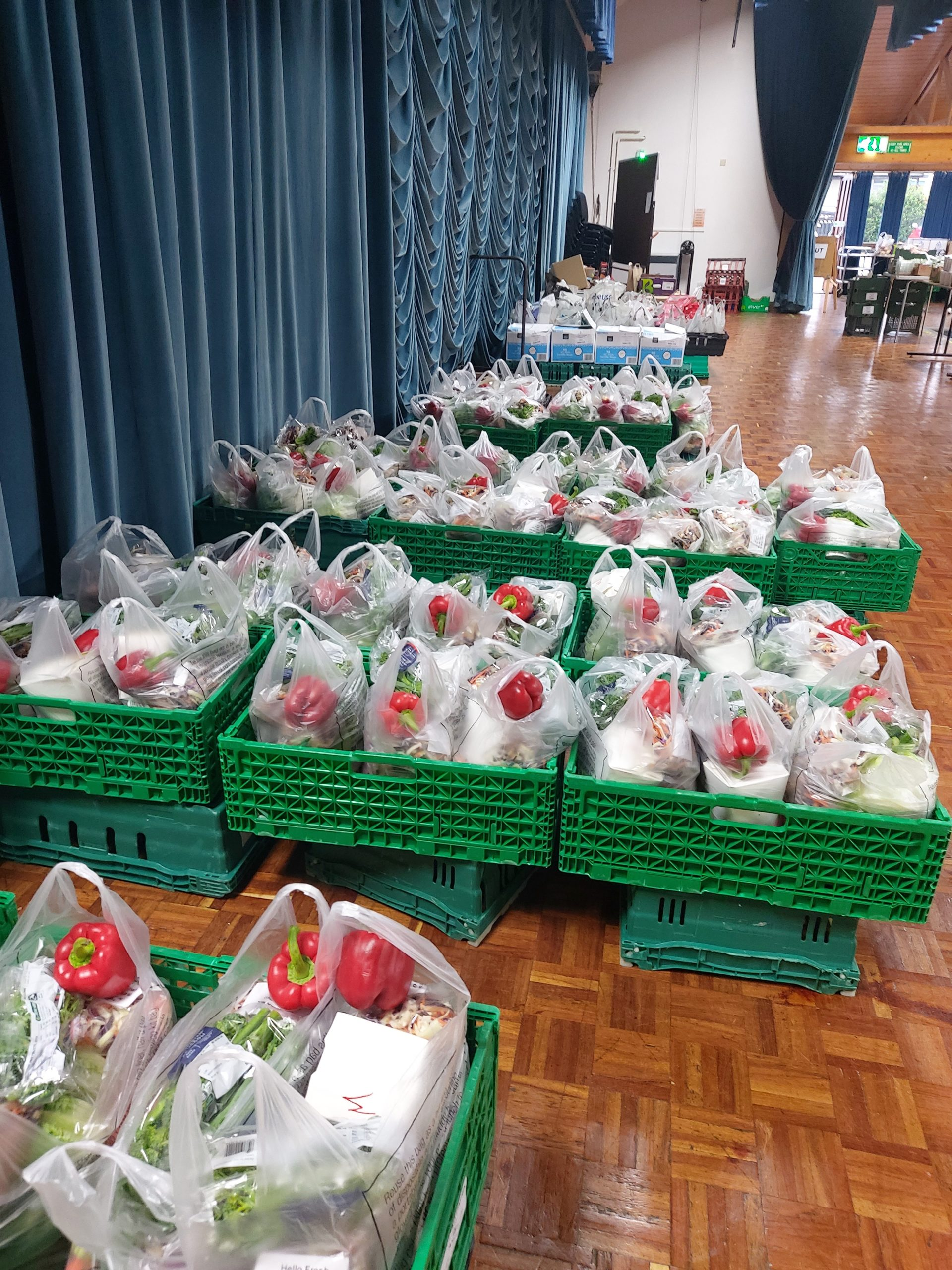 Produce bags are packed and ready to be distributed to hundreds of people each week. PHoto by Claire Howard